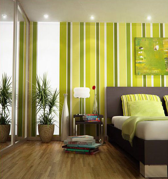 Green Bedroom with Stripped Wallpaper
