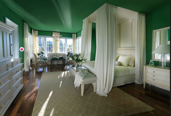New Age Royal White and Green Bedroom