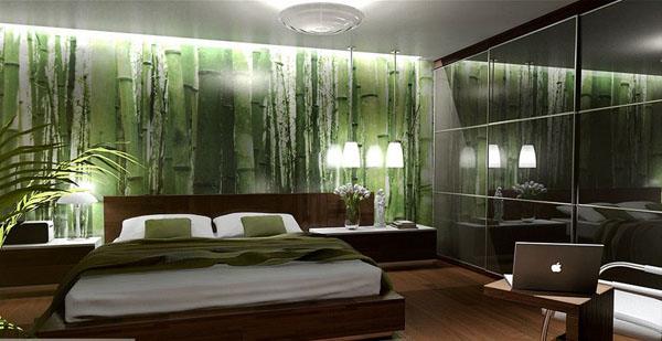 Pin by l dia manteigas on houses decor pinterest for Green bedroom wallpaper