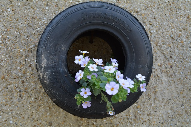 Tire with a flower