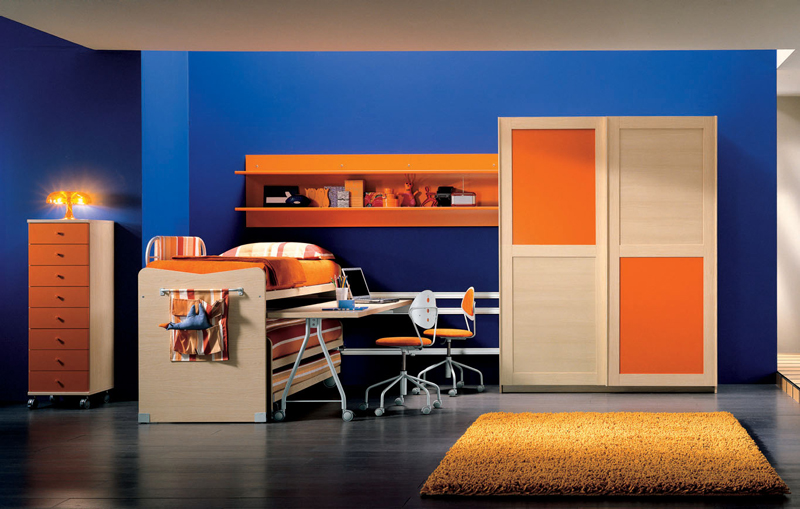 blue & orange kids bedroom
