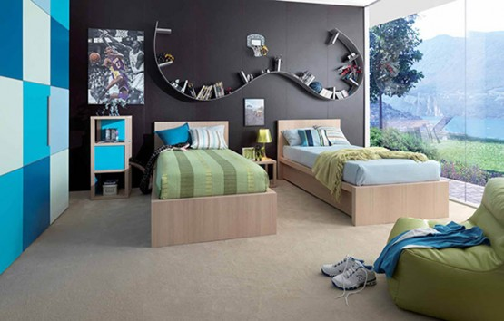 Grey and Green Kids Bedroom