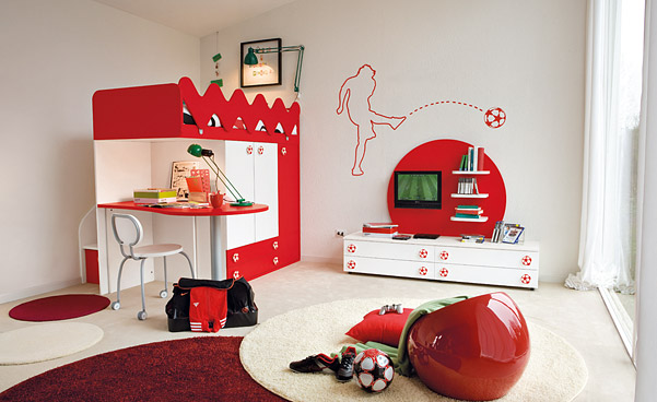 Red and white kids bedroom