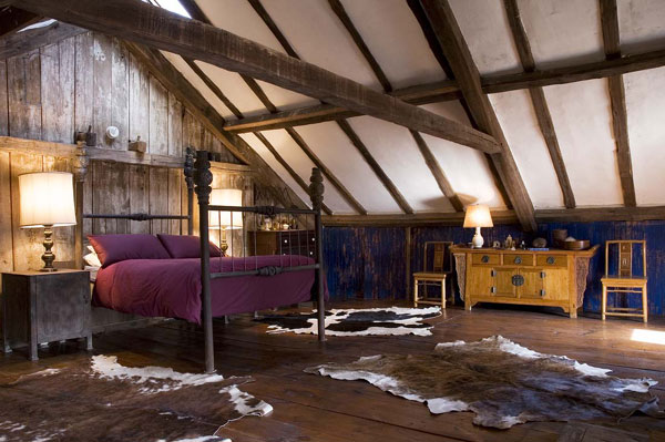 rustic interior design, attic, bedroom