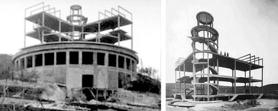 villa girasole, rotating house, construction, original photos
