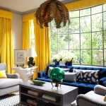 modern living room, yellow curtains, yellow and blue colour scheme