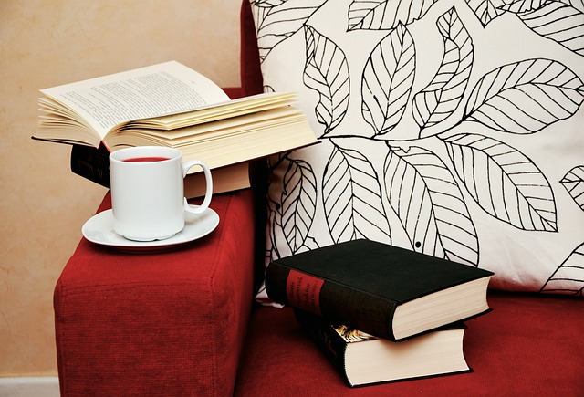 Couch with books