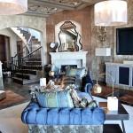 oriental living room, blue sofa