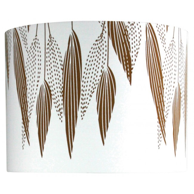 white lamp shade with metallic gold feathers