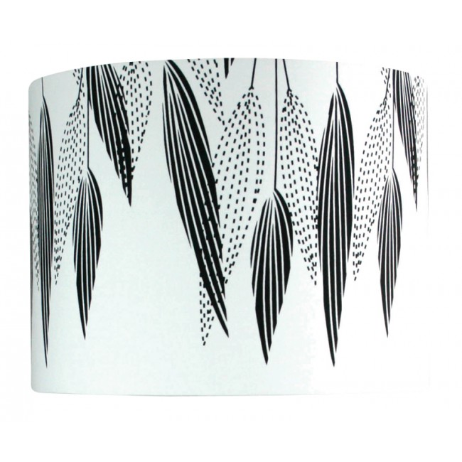 black and white lamp shade with feathers print