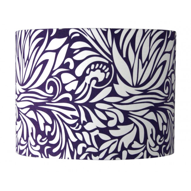 Floral lamp shade in white and purple